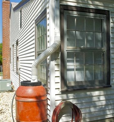 Potholes pantyhose diy recycled and cheap rain barrel for How to make your own rain barrel system