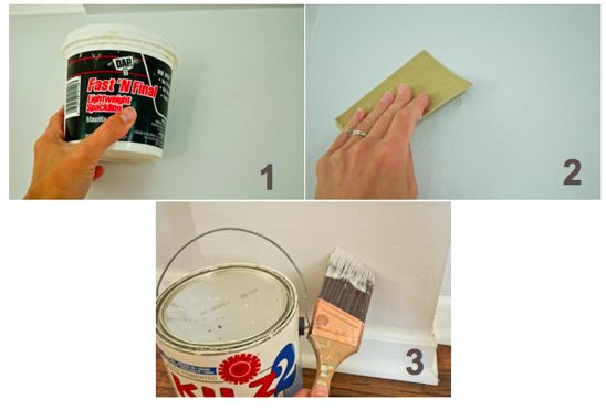 lay out the plastic dropcloth and use the masking tape to tape seams together 1 fill nail holes and low spots on the wall using your finger to spread