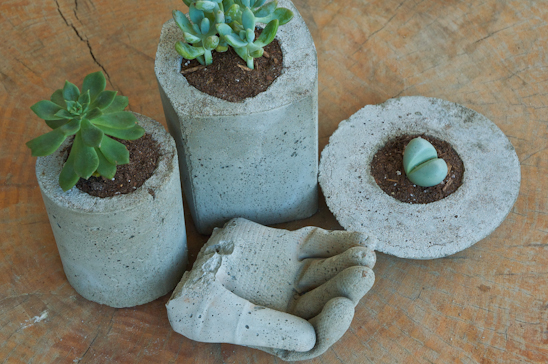 Planters and Cement Hand