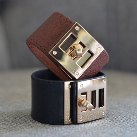 Leather and Gold Cuff